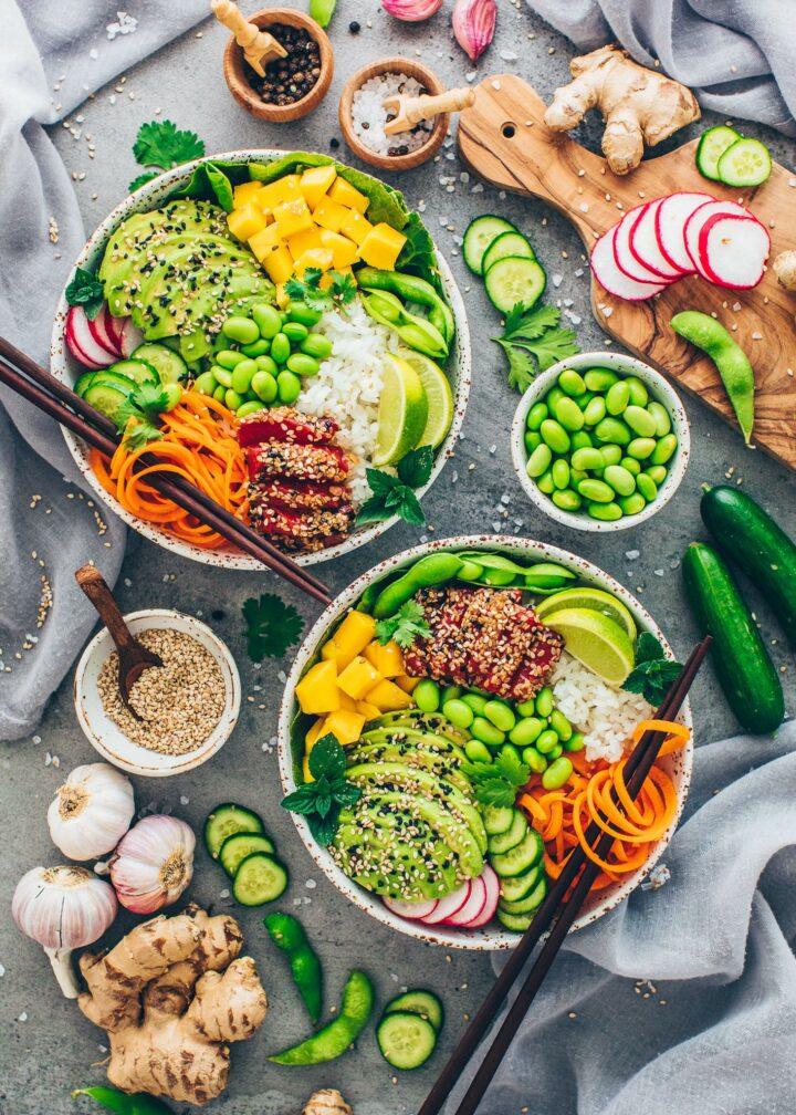 Poke Bowl with Watermelon Tuna, rice, veggies, mango, and avocado