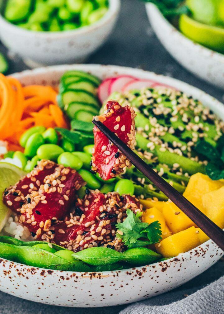 Watermelon Tuna in a poke bowl (Sashimi, Sushi)