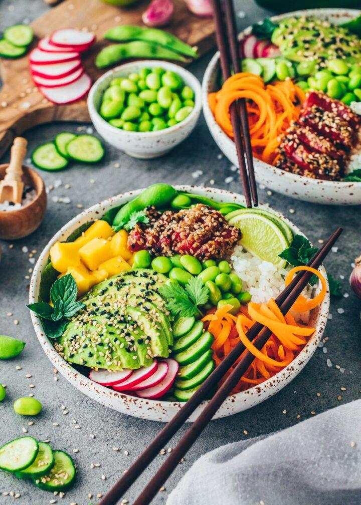 Vegan Poke Bowl with Watermelon Tuna
