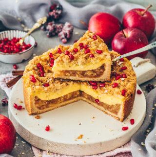 Apfel-Streusel-Kuchen mit Pudding