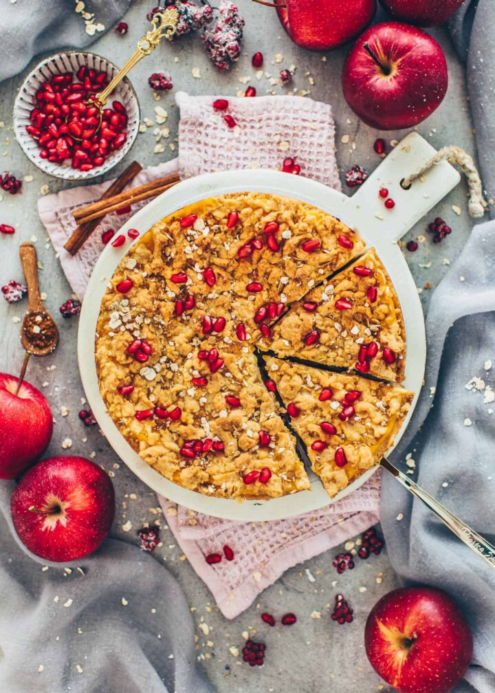 Apple Crumble Cake with pomegranate and cinnamon