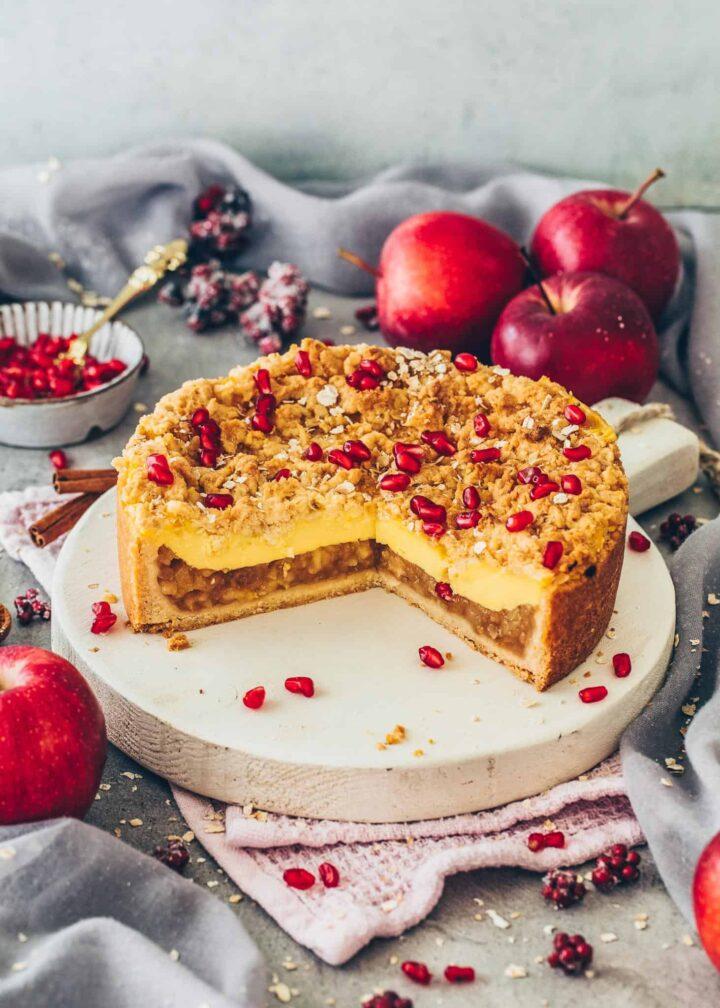 Vegan Apple Cake with Custard and Streusel