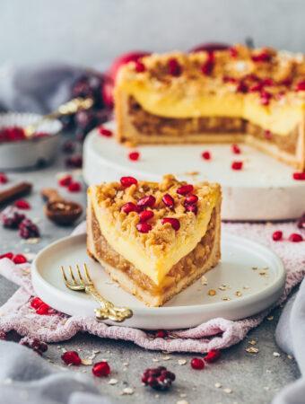 Apple Crumble Cake with Custard and Cinnamon Streusel