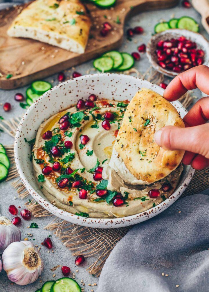 Baba Ganoush with roasted eggplant, tahini, garlic, mint, parsley, pomegranate (Vegan Eggplant Dip)