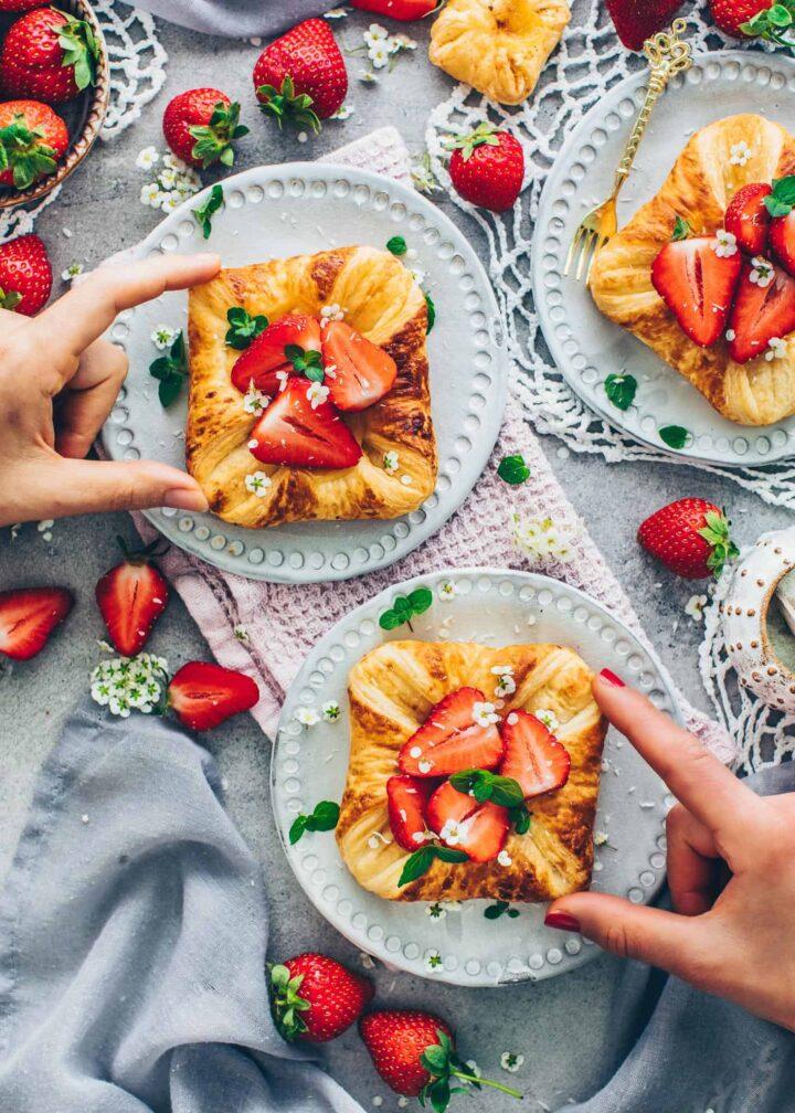 Vegan Danish Pastry Tarts with Custard and Strawberries