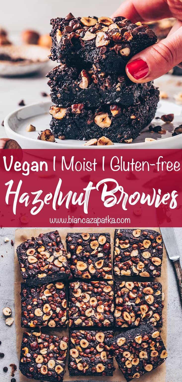 Hazelnut Brownies (Vegan, Gluten-free, Healthy, Moist, Fudge)