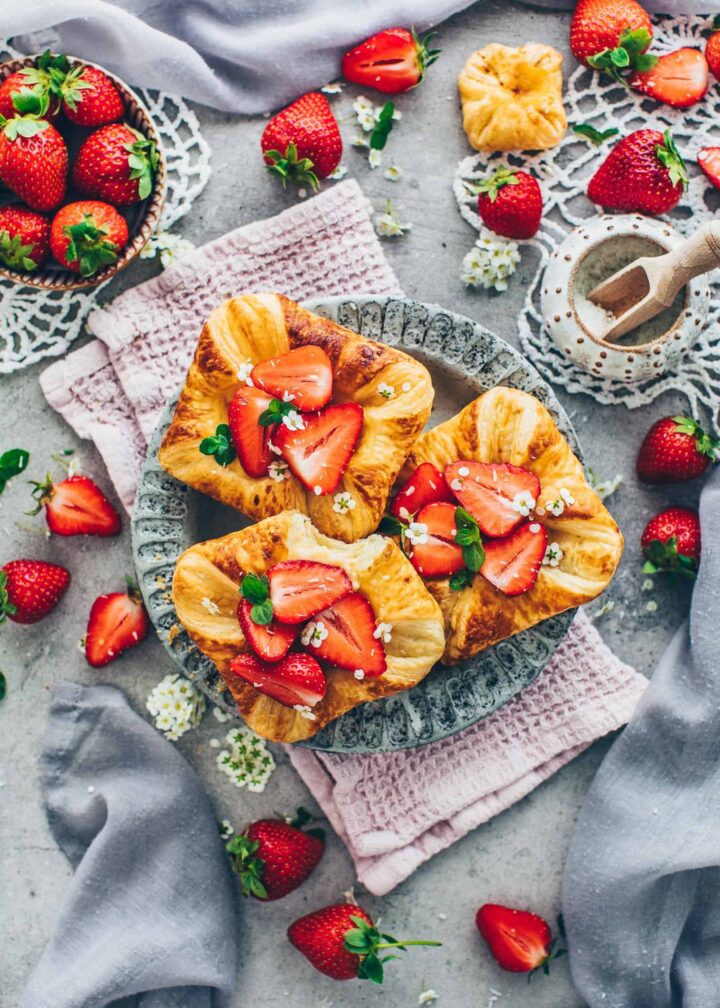 Strawberry Danish Pastry with Custard and Coconut