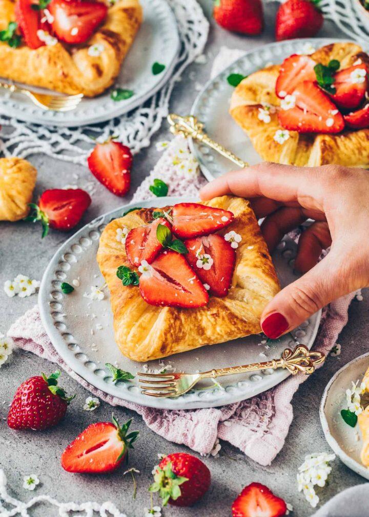 Puff Pastry Danish with Strawberries and Vanilla Pudding