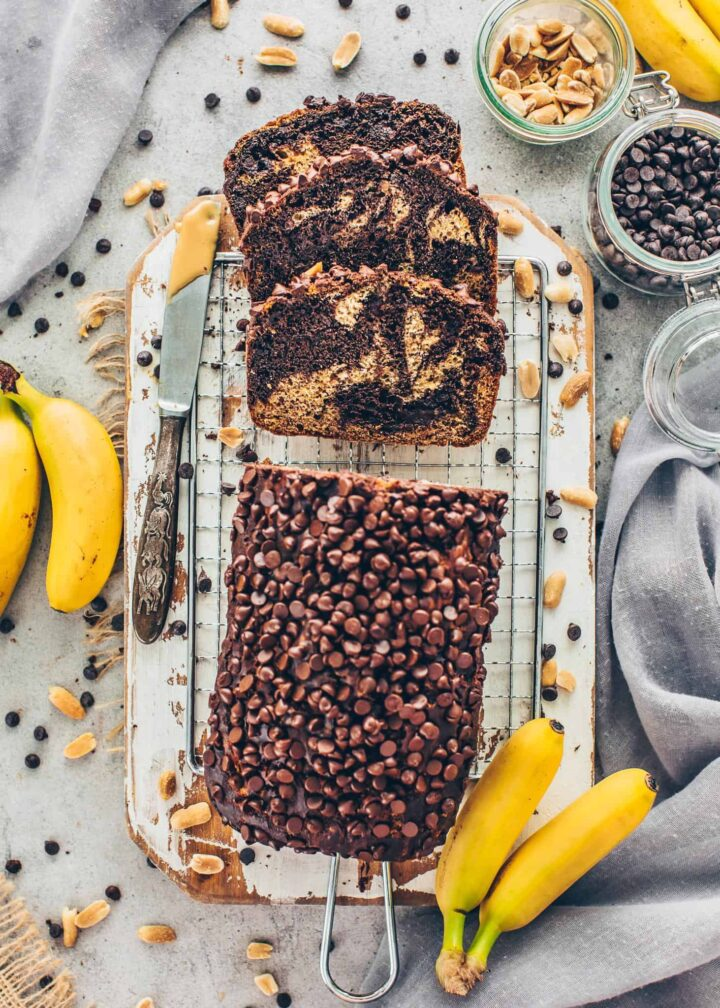 Marbled Banana Bread with Chocolate and Peanut Butter