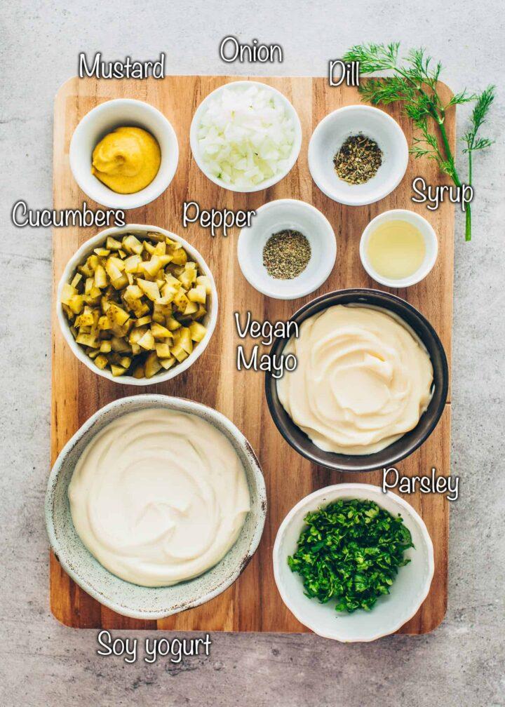 Ingredients for vegan remoulade