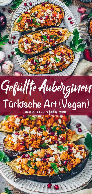 Gefüllte Auberginen mit Bulgur (Türkische Art, Vegan, Vegetarisch)
