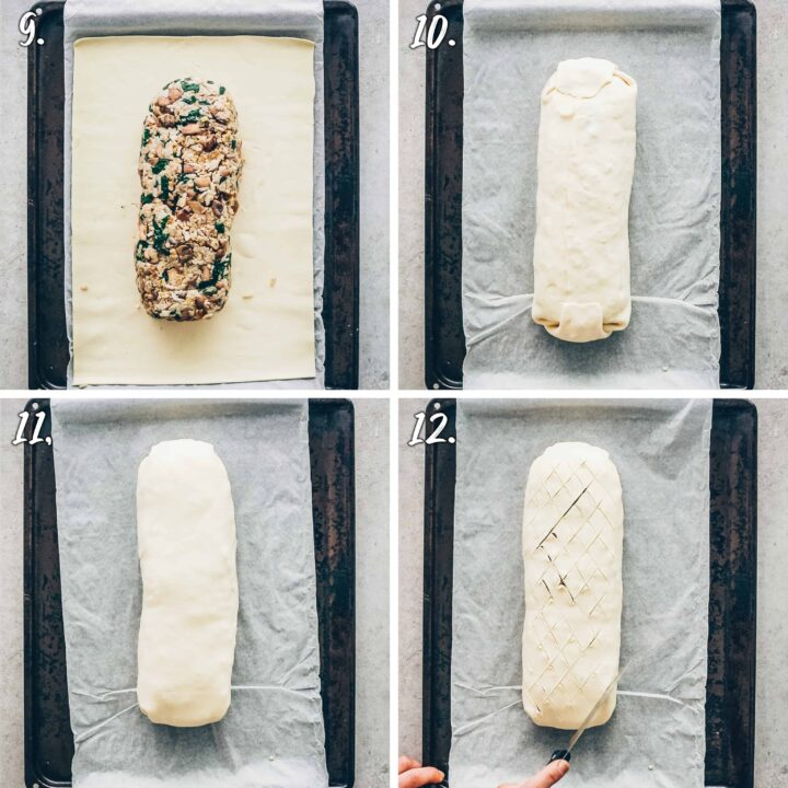 mushroom wellington, vegan roast filled with mushrooms and wrapped in puff pastry - how to make - instructions