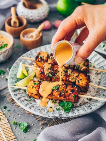 Tofu Satay Skewers with Peanut Sauce
